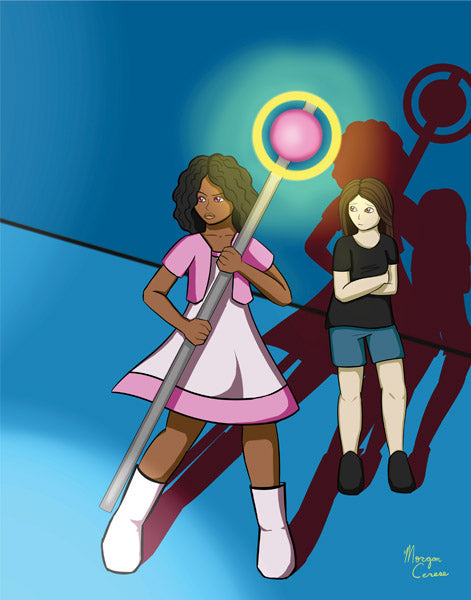 "I've Got Your Back (Magical Girl Escort) 11""x14"" Print - Morgan Cerese Art"