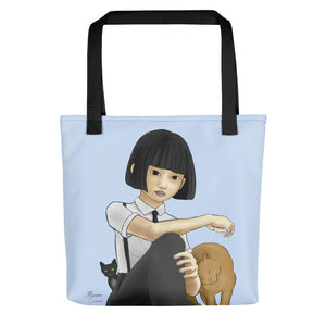 "Nekohime (Cat Princess) 15"" x 15"" Tote bag - Morgan Cerese Art"