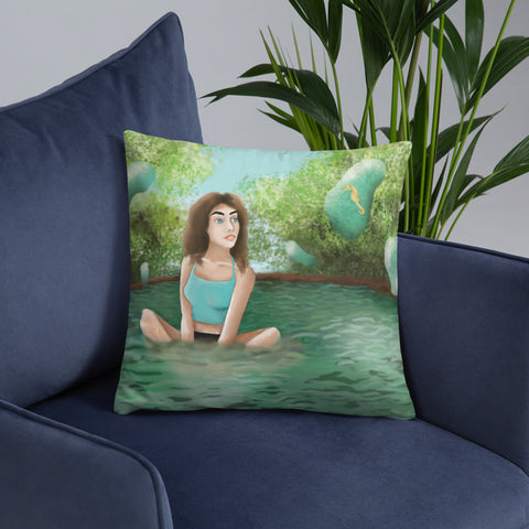 "Modern Water Nymph 18""x18"" Square Pillow"