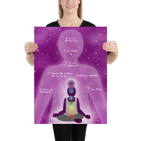Crown Chakra Sahasrara Healing Affirmation Large Matte Paper Poster - Morgan Cerese Art