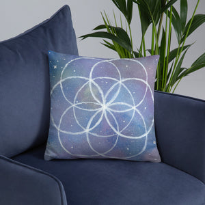 "Cosmic Seed of Life 18""x18"" Square Pillow - Morgan Cerese Art"