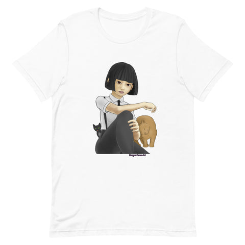 Nekohime (Cat Princess) Short-Sleeve Unisex T-Shirt - Japanese Girl With 2 Cats - Morgan Cerese Art