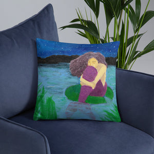 "The Lost Mermaid 18""x18"" Square Pillow - Morgan Cerese Art"