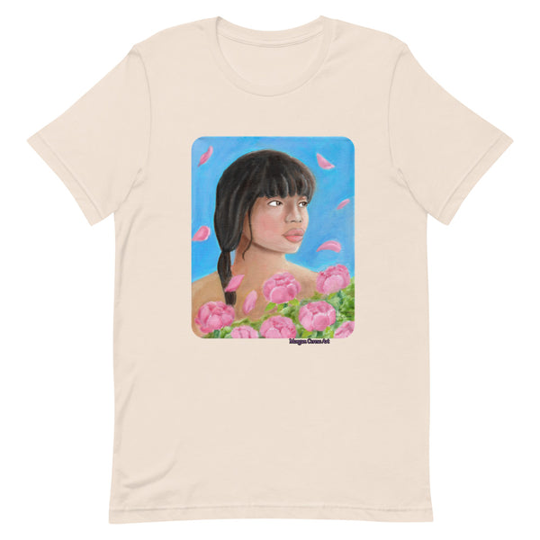 Pink Elegance Short-Sleeve Unisex T-Shirt - Peony Flower Petals Blowing In Wind Art - Morgan Cerese Art