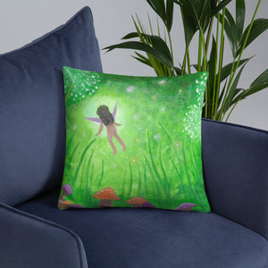 "Faery Dreams 18""x18"" Square Pillow - Morgan Cerese Art"