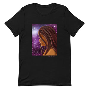 Cosmic Witch Short-Sleeve Unisex T-Shirt - Magical Black Girl With Locs / Dreads Art - Morgan Cerese Art