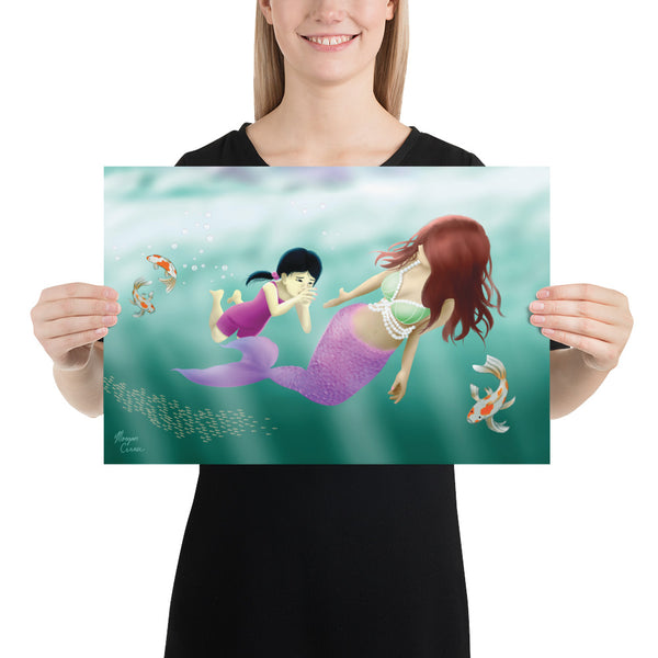 Swimming Lesson Photo Paper Poster - Mermaid Little Girl Koi Fish Artwork - Morgan Cerese Art