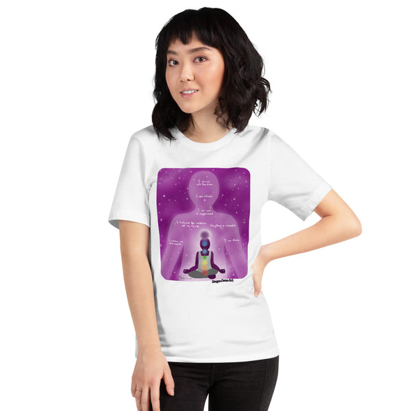 Crown Chakra - Sahasrara - Healing Affirmation Short-Sleeve Unisex T-Shirt - Morgan Cerese Art