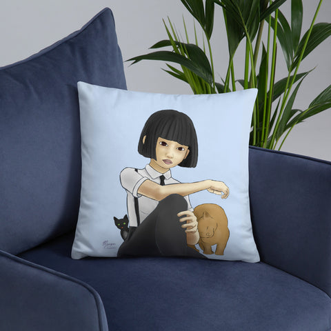 "Nekohime (Cat Princess) 18""x18"" Square Pillow"