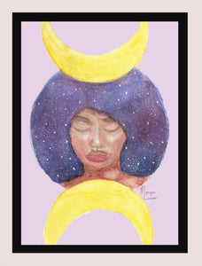 "Moon Goddess 5""x7"" Print - Morgan Cerese Art - Magical Melanin Galaxy Afro Hair Artwork"