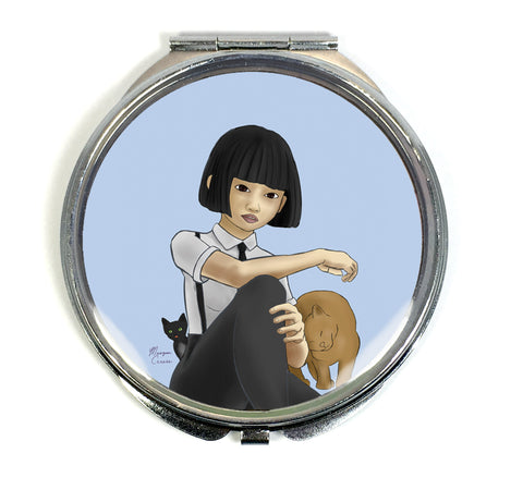 Nekohime (Cat Princess) Compact Mirror - Morgan Cerese Art