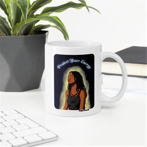 Protect Your Energy (Version 1) Mug - Black Woman With Locs Meditation Art - Morgan Cerese Art