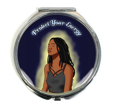 Protect Your Energy Compact Mirror - Black Woman With Locs Meditation Art - Morgan Cerese Art