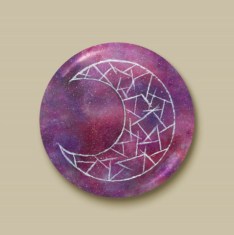 Cosmic Moon (Red) Pin-back Button - Morgan Cerese Art