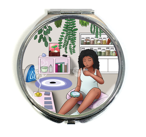 Safe Space Compact Mirror - Black Woman With Natural Hair Burning Sage With Tarot & Crystals - Morgan Cerese Art