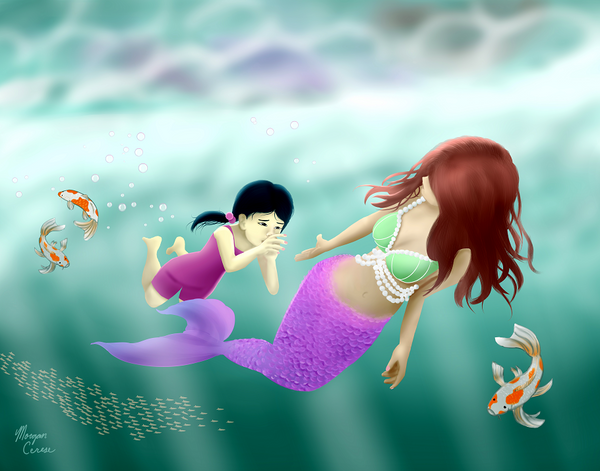 "Swimming Lesson 11""x14"" Art Print - Mermaid Little Girl Koi Fish Artwork - Morgan Cerese Art"