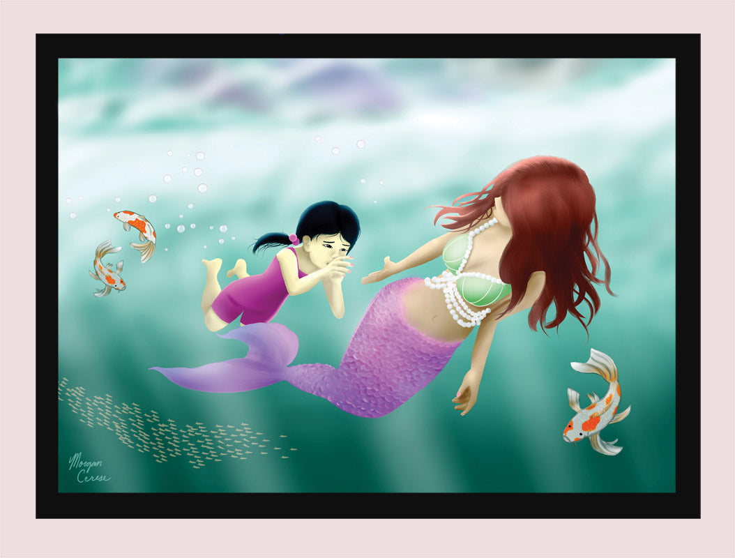 "Swimming Lesson 5""x7"" Print - Mermaid Little Girl Koi Fish Artwork - Morgan Cerese Art"