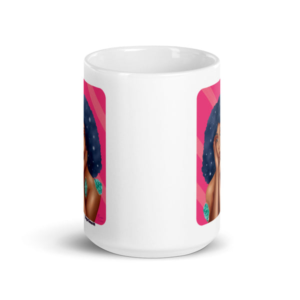 Luminous 11oz 15oz Mug - Beautiful Black Woman With Galaxy Afro Hair - Morgan Cerese Art