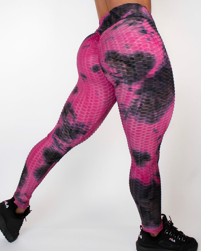 DARE LEGGINGS - BLACK / FUCHSIA