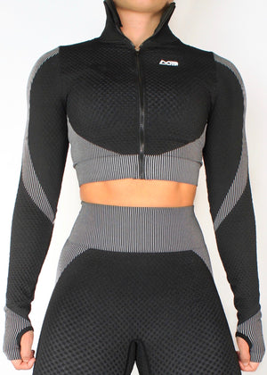 VORTEX LONG SLEEVE ZIP CROP TOP - BLACK / WHITE
