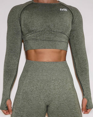 LUCID SEAMLESS CROP TOP - OLIVE
