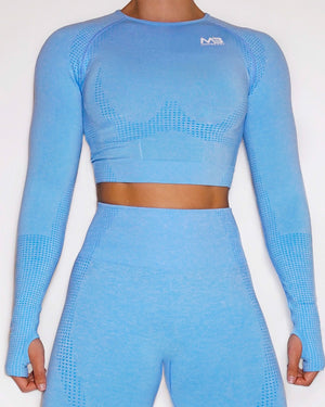 LUCID SEAMLESS CROP TOP - BABY BLUE