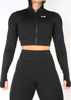 VORTEX LONG SLEEVE ZIP CROP TOP - BLACK