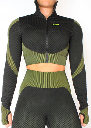 VORTEX LONG SLEEVE ZIP CROP TOP - BLACK / GREEN