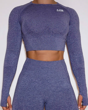 LUCID SEAMLESS CROP TOP - HEATHER NAVY