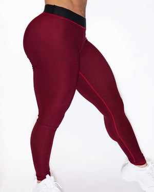 SHAPE-LOW LEGGINGS - BURNT RED / BLACK
