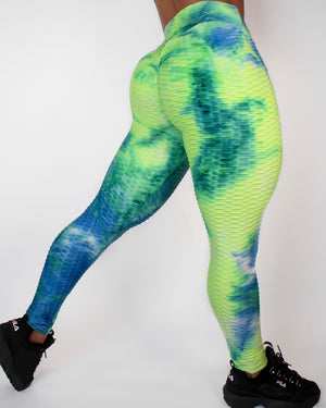 DARE LEGGINGS - LIME / BLUE
