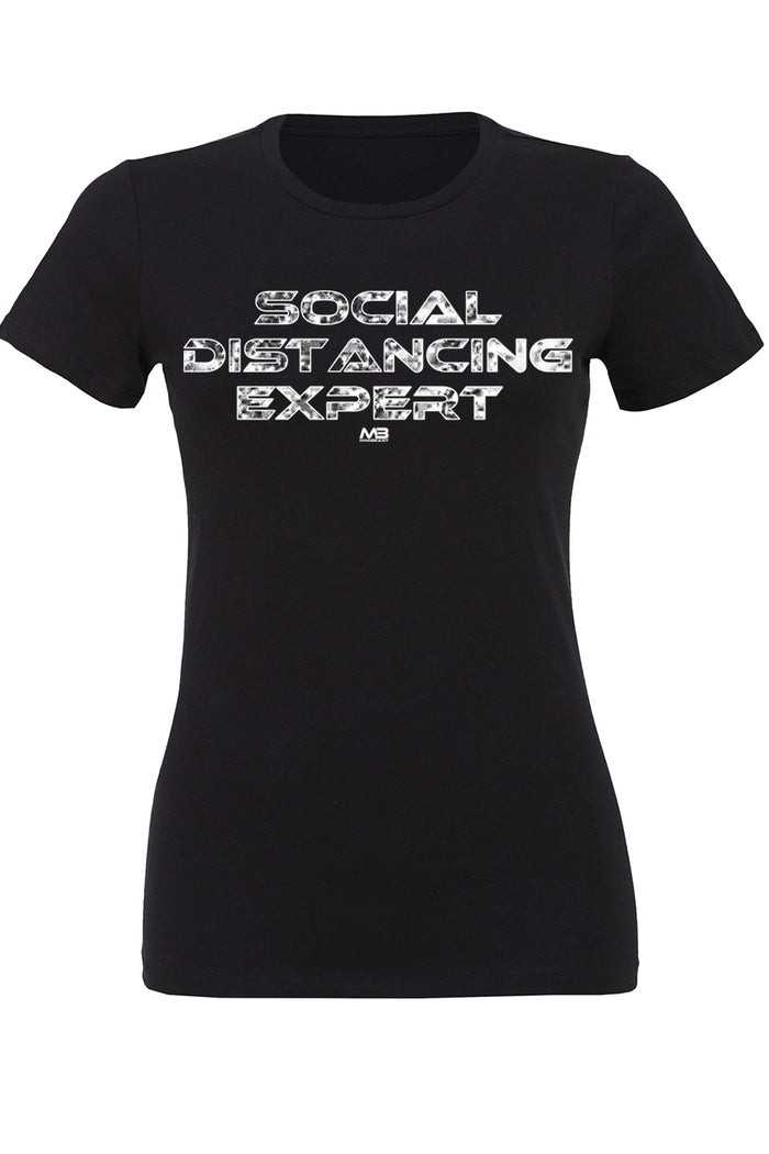 "CLEARANCE 50% OFF - WOMEN'S ""SOCIAL DISTANCING EXPERT"" FITTED TEE"