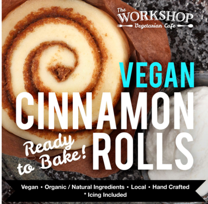 The Workshop-Vegan Cinnamon Rolls-9 buns and icing