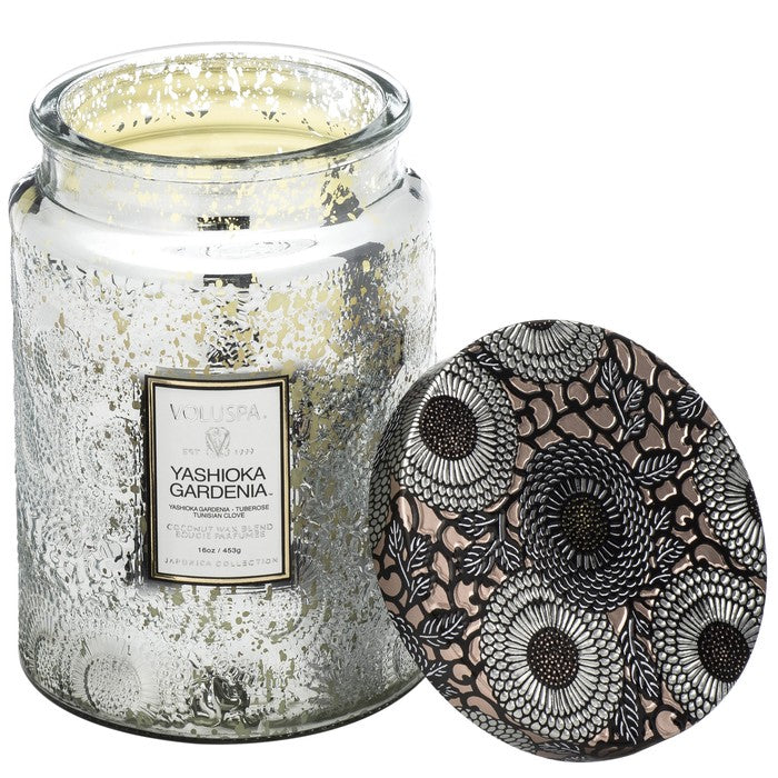 Large Embossed Glass Jar Candle: Yashioka Gardenia - House of Moseley