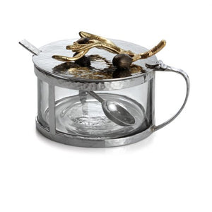 OLIVE BRANCH GOLD CONDIMENT CONTAINER W/ SPOON - House of Moseley