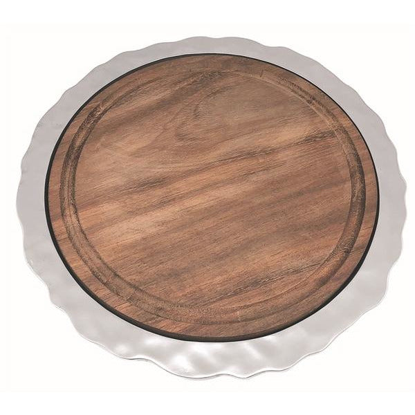 Shimmer Round Cheese Board, Carribean Walnut Wood Insert