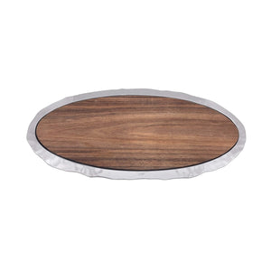 Shimmer Long Oval Cheese Board, Carribean Walnut Wood Insert - House of Moseley