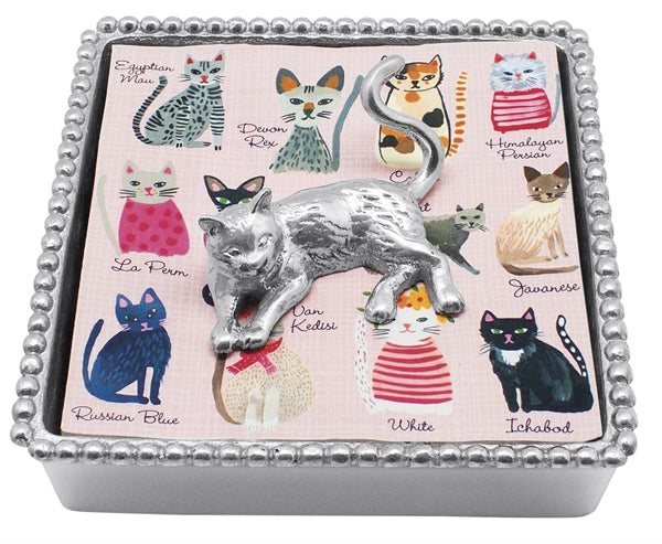 Cat Beaded Napkin Box - House of Moseley