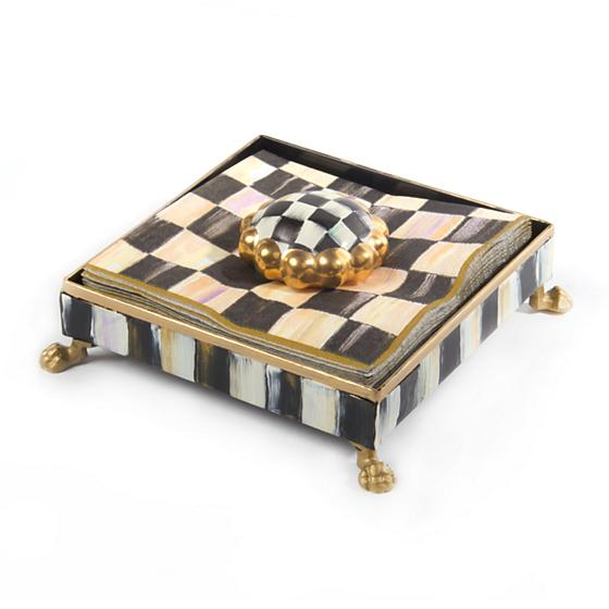 Courtly Check Cocktail Napkin Holder Set - Gold - House of Moseley