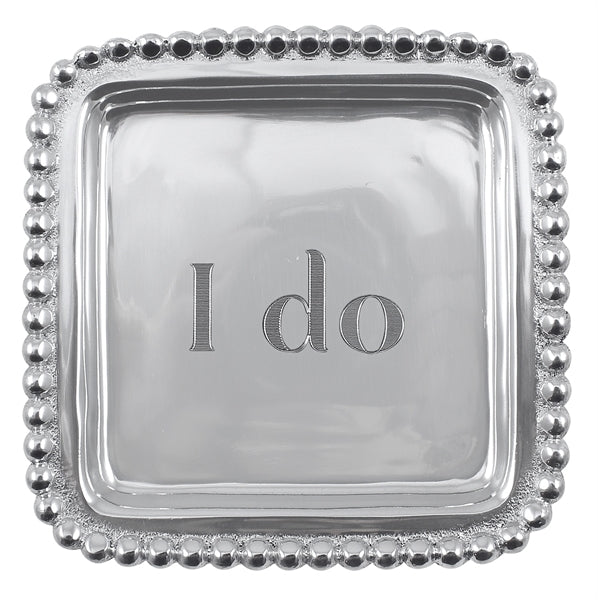 """I Do"" Beaded Square Tray - House of Moseley"