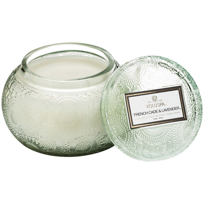 EMBOSSED GLASS CHAWAN BOWL CANDLE: French Cade Lavender - House of Moseley