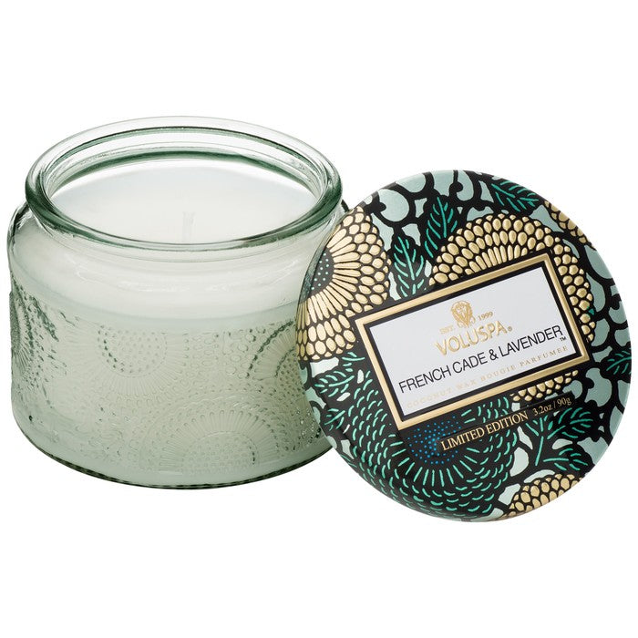 PETITE EMBOSSED GLASS JAR CANDLE: French Cade Lavender - House of Moseley