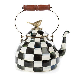 Courtly Check Enamel 3 Qt. Tea Kettle with Bird - House of Moseley