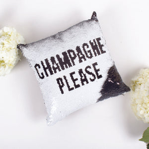 "Sequin Pillow ""Champagne Please"" - House of Moseley"