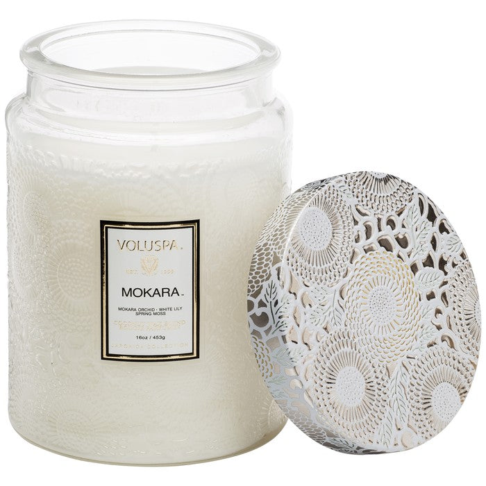 Large Embossed Glass Jar Candle: Mokara - House of Moseley