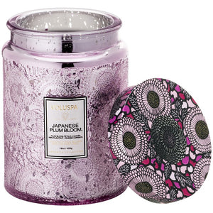 Large Embossed Glass Jar Candle: Japanese Plum Bloom - House of Moseley