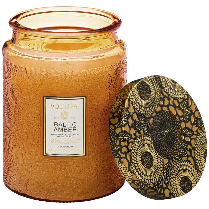 Large Embossed Glass Jar Candle: Baltic Amber - House of Moseley