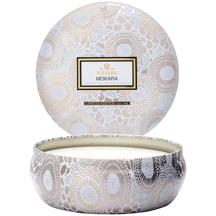 3 Wick Candle In Decorative Tin: Mokara - House of Moseley