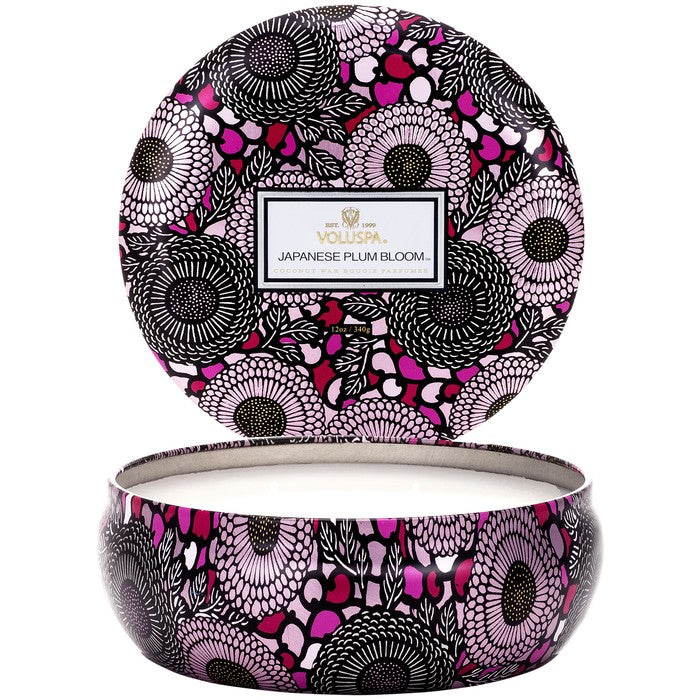 3 Wick Candle In Decorative Tin: Japanese Plum Bloom - House of Moseley