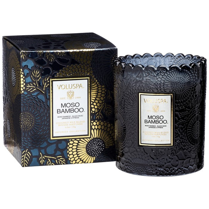 EMBOSSED GLASS SCALLOPED EDGE CANDLE: Moso Bamboo - House of Moseley